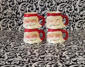 Sweet Santa~Winking Santa Mugs~Set of 4~Ceramic~Unmarked