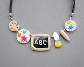 Necklace colorful gift for school teachers or lovers of polymer clay painting / jewel teacher / teacher gift
