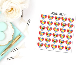 Kawaii Autism Heart Planner Stickers