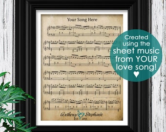 Custom Sheet Music Art | Valentines Day Gift For Him | Romantic Gift for boyfriend | Personalized Gift For Husband | Mens Gift ideas for Men