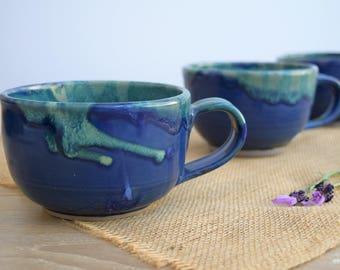 Handmade Blue Ceramic Mug, Cafe Au Lait Bowl, Extra Large Mug, Coffee Mug, Tea Mug, Cafe Latte Mug