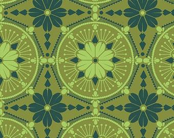 True Colors by Anna Maria Horner Fabric for FreeSpirit / Medallion in Emerald / 1 yard cut