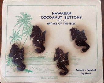 "Vintage Hand Carved and Polished ""Cocoanut"" Seahorse Buttons - Made in Honolulu - 1930's to 1940's"