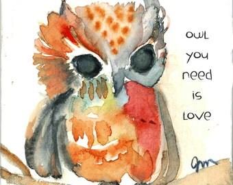 Owl Wood Print, owl wall art, owl painting, owl art print, owl wood art, wood art print, wood wall art, natural wood print,