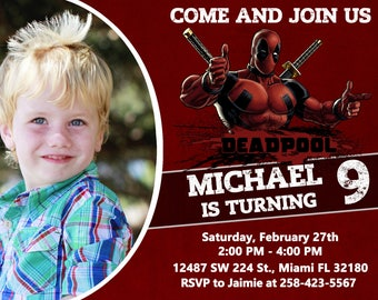 Deadpool Invitation Birthday Deadpool Party