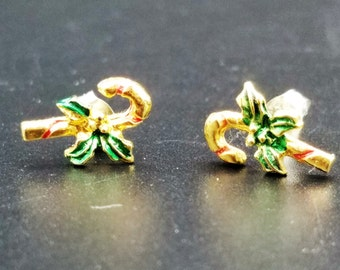 Vintage Tiny Candy Cane Earrings with Red and Green Holly - Ships Free