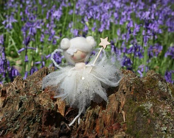 Collectible, Angel fairy, whimsical decoration, fairy doll, white fairy, christening gift, Christmas ornament, sympathy gift, mourning angel