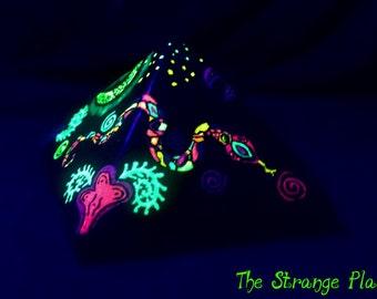Psychedelic, neon glow, fantasy pyramid