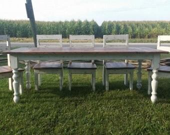 7' Rustic Farm House Dining Table, Reclaimed Barn Wood