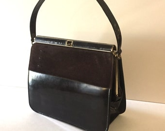 1950's Air Step Vintage Purse, Vintage Handbag, Jackie O, Patent Leather, Suede, Dark Brown Vintage Bag