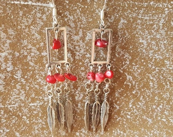 Earrings coral red 925 Silver earrings coral earring chandelier