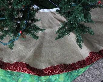 Christmas Tree Skirt, Burlap Tree Skirt, Tree Skirt