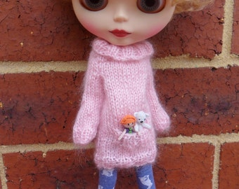 BLYTHE DOLL Pink mohair Pocket Sweater ONLY