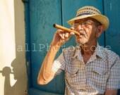Cuba Photography, Old Man with Cuban Cigar, Cuban Cigar Art, Travel Photography, Cuban Art,  Fine Art Photography, Cuba Print Art, Smoker