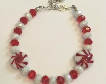 Red & White Peppermint bead bracelet