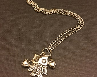 Owl & Hearts Necklace