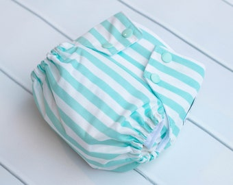 One Size Cloth Diapers. Mint and White Stripe Cloth Diaper. All in One. All In 2. Diaper Cover and Insert. OS Cloth Diaper. Bamboo Velour.