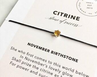 Citrine Bracelet/ November Birthstone Bracelet/ Layering Bracelet/ Birthday Birthstone Gift