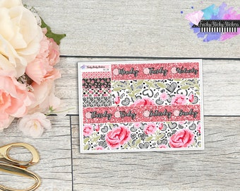 Smell the Roses Bottom Washi, Planner Stickers sized for Erin COndren Vertical {FK-211}