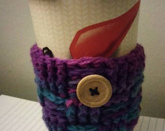 Handmade crochet basket weave pink and purple coffee coozie.