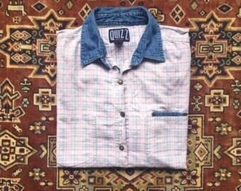 ON SALE - Plaid Button-up Denim Collar - 90s, Preppy, Minimal, Plaid, Basic, Oversized - Vintage Women's Cotton Top
