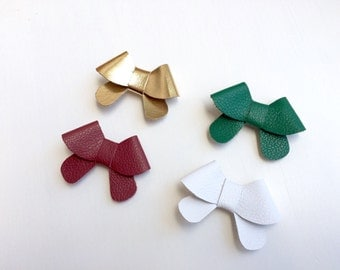 "Set of four: Christmas holiday leather ""Helen"" bows in gold, green, white and cranberry - small - headband - alligator clip"