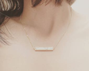 Gold Plated Marble Bar Necklace