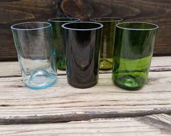 Wine Bottle Glasses. Wine Glass. Bottle Glass. Wine Bottle Decor. Upcycled Drinking Glass. Bar Decor. Bottle Glasses. Wine Bottles