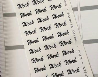 AJ6D203E, Bargain Corner Words, WORK. Planner Stickers.
