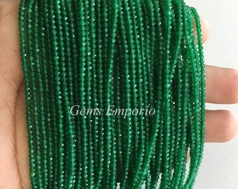 "Green Onyx Beads, Micro Faceted Round Beads, Size 2.20 mm, 13"" Strand. Super Fine Quality. Price per Strand"