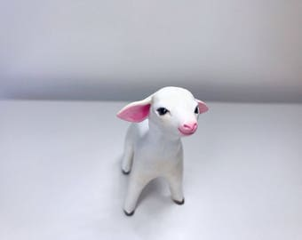 Baby Sheep Polymer Clay Figurine