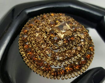 Made In AUSTRIA Chocolate Rhinestone Pin