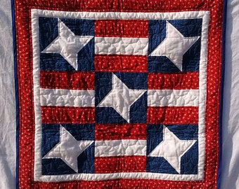 HANDQUILTED WALL HANGING, American Flag Quilted Wall Hanging, Red White and Blue, Patriotic, Stars and Stripes, Americana, Hand Quilted,