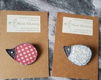 Hedgehog brooch, hedgehog pin, animal brooch, animal pin, fabric brooch, fabric pin, unique gift, handmade brooch, handmade pin