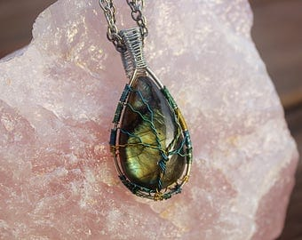 Wrapped Labradorite Tree of Life Pendant