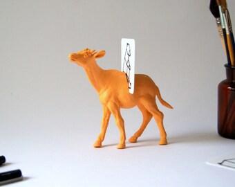 Desk Organizer Orange Animal. Cards holder, notes holder, picture holder. 1 slot. Desk accessory and decoration soft orange