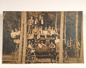 Amazing Stage Coach Cabinet Card, 19th Century Antique Mounted Photograph