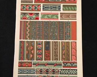 Medieval Ornament No. 3 - Illuminated Borders, Owen Jones - Original Antique Print, Grammar of Ornament, Vintage Decor