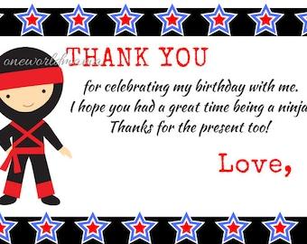 Ninja Thank you card with text