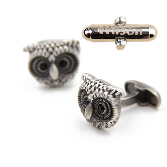 Custom Engraved,Owl Cufflinks ,Gifts for Men , Anniversary Gift,Elegant Monogrammed Cufflinks,Vintage Style Cufflinks ,Fan Gift for him