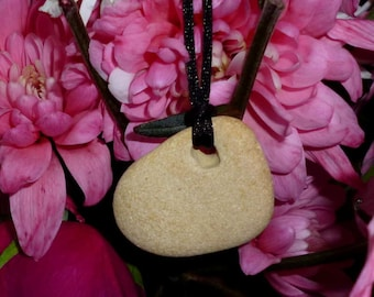 Small natural cream coloured hag stone, holey stone, witch stone, protection stone pendant