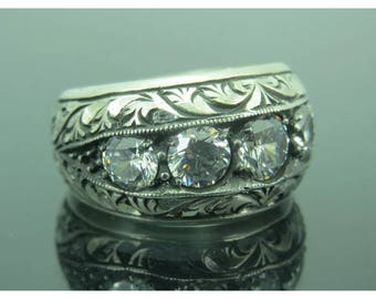 Hand made ottomane style 925 Sterling silver man ring zircon stone 10 USA size