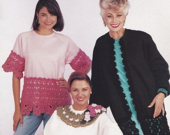 Mile-A-Minute Stylish Sweats, Annie's Attic Crochet Shirt Edgings Pattern Booklet 381A