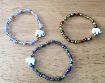 White Elephant Charm Bracelet