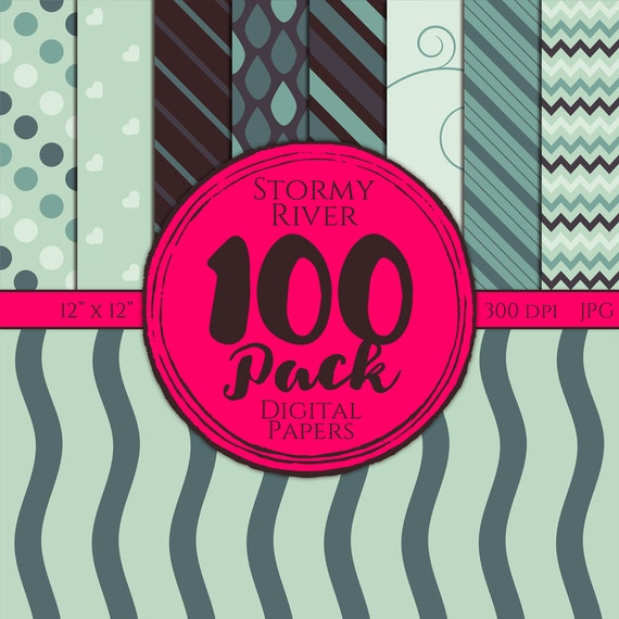 Digital Paper 100 Pack - Stormy River - Commercial Use, Stormy River Digital Patterns