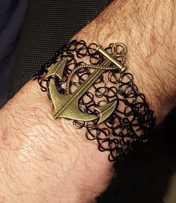 Favoloso Bracciale da uomo tatuaggio magico fascino nautico UU82