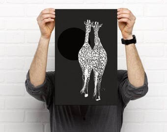 Digital art print of a leopard on high quality paper, art print of leopard, leopard art print , leopard on tree, leopard silhouette
