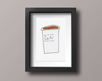 Cafe Wall Art, Coffee Illustration, Coffee Print, Coffee Postcard