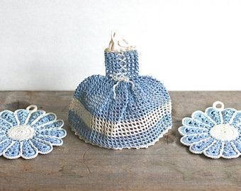 Vintage Crochet Pot Holders Sundress Flowers Blue Purple