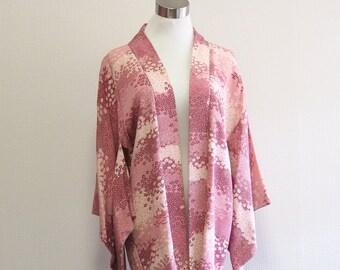 Pink little many flower Haori /Japanese vintage jacket
